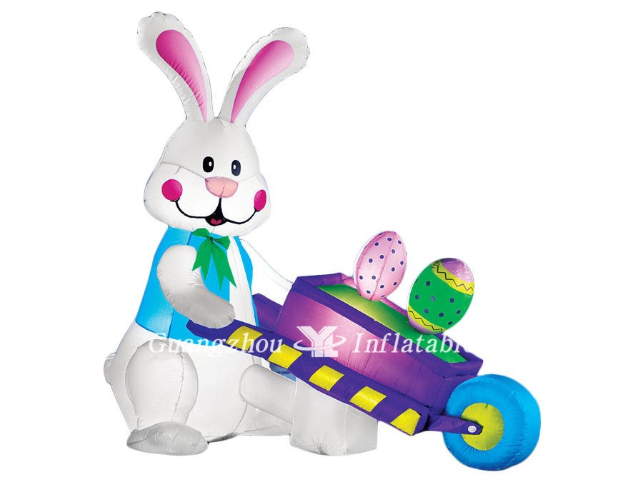 Inflatable Easter Bunny Pushing Wheelbarrow with Eggs