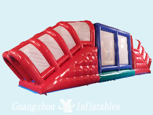 Giant Red Inflatable Tunnel Obstacle Course