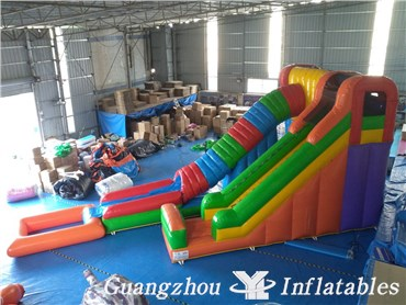 Colorful Inflatable Tunnel Water Slides with Pool