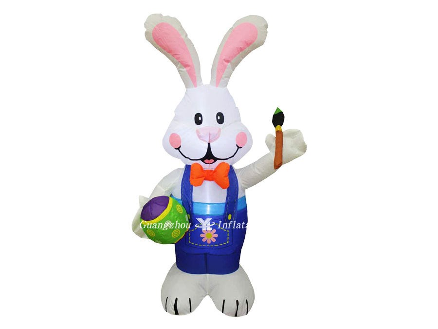 Inflatable Easter Bunny Holding Paintbrush