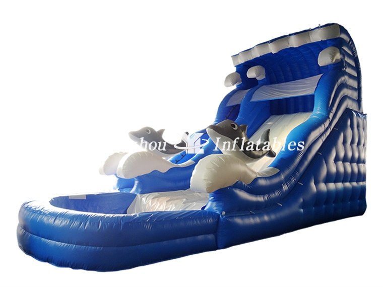 Blue Inflatable Dolphin Water Slide with Pool