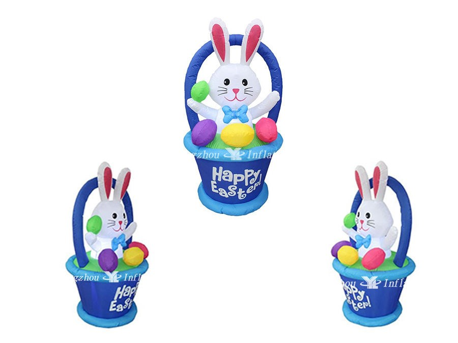 Inflatable Bunny with Basket and Colorful Easter Eggs